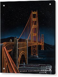 Golden Gate Acrylic Print by Lynette Cook