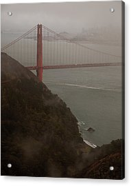 Golden Gate On A Grey Day Acrylic Print by Patrick  Flynn