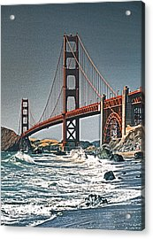 Golden Gate Surf Acrylic Print by Dennis Cox WorldViews