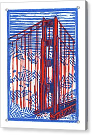 Golden Gate North Tower Acrylic Print by Tom Taneyhill