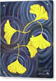 Golden Ginkgo Leaves On Gray  Acrylic Print by Laura Iverson