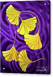 Golden Ginkgo Leaves On Purple Acrylic Print by Laura Iverson