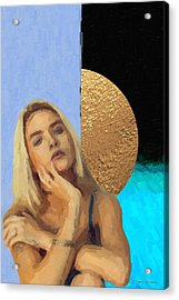 Acrylic Print featuring the digital art Golden Girl No. 4  by Serge Averbukh