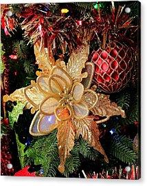 Golden Glitter Christmas Ornaments Acrylic Print