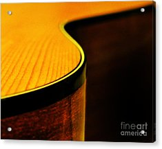 Golden Guitar Curve Acrylic Print by Deborah Smith