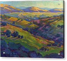 Acrylic Print featuring the painting Golden Hills by Konnie Kim