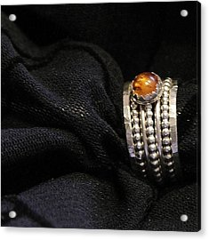 Golden Honey Baltic Amber And Stackable Sterling Silver Bold Rings Acrylic Print by Nadina Giurgiu