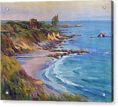 Acrylic Print featuring the painting Golden Hour At Corona Del Mar by Konnie Kim