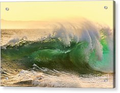 Acrylic Print featuring the photograph Golden Hour Waves by Eddie Yerkish