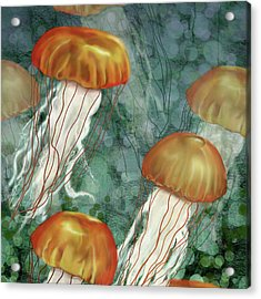 Golden Jellyfish In Green Sea Acrylic Print