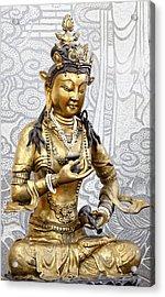 Golden Kuan Yin Acrylic Print