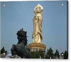Golden Kwan Yin Acrylic Print by Melissa Stinson-Borg