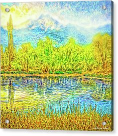 Golden Lake Reflections Acrylic Print