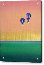 Golden Landscape And Balloons Acrylic Print by Beryllium Canvas