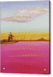 Golden Landscape With Windmill Acrylic Print by Beryllium Canvas