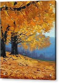 Golden Leaves Acrylic Print