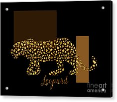 Golden Leopard Modern Gilt Wild Cat, Gold Black Brown Acrylic Print by Tina Lavoie
