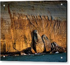 Golden Light On The Pictured Rocks. Acrylic Print