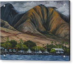 Acrylic Print featuring the painting Golden Light West Maui  by Darice Machel McGuire
