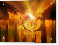 Golden Love Acrylic Print by Linda Sannuti