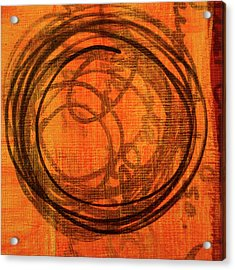 Acrylic Print featuring the painting Golden Marks 9 by Nancy Merkle