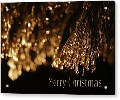 Golden Merry Christmas Acrylic Print by Lori Deiter