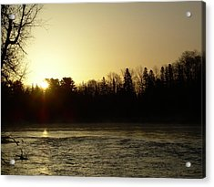 Acrylic Print featuring the photograph Golden Mississippi River Sunrise by Kent Lorentzen