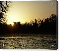 Golden Mississippi River Sunrise Acrylic Print by Kent Lorentzen