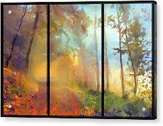 Golden Mist Landscape Acrylic Print by Georgiana Romanovna