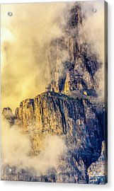 Golden Mist On Cathedral Mountain Acrylic Print