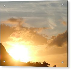 Golden Oahu Sunset Acrylic Print by Karen J Shine