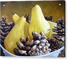 Golden Pears And Pine Cones Acrylic Print by Richard T Pranke