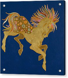 Acrylic Print featuring the painting Golden Pegasus by Bob Coonts