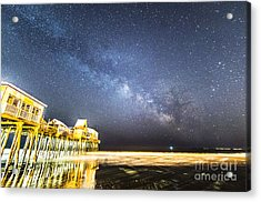Golden Pier Under The Milky Way Version 1.0 Acrylic Print