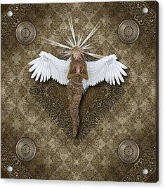Golden Praying Angel Acrylic Print by Charm Angels