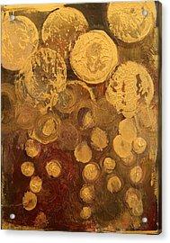 Golden Rain Abstract Acrylic Print