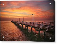 Golden Red Skies Over The Pier Acrylic Print