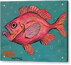 Golden Redfish Acrylic Print by Emily Reynolds Thompson
