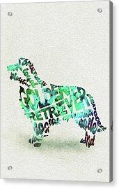 Golden Retriever Dog Watercolor Painting / Typographic Art Acrylic Print
