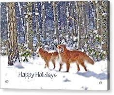 Golden Retriever Dogs In Winter   Acrylic Print