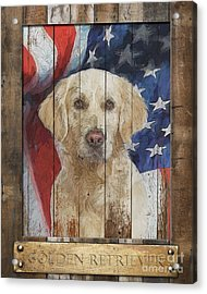 Golden Retriever Flag Poster Acrylic Print by Tim Wemple