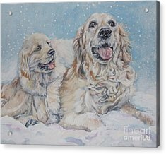Golden Retriever With Pup In Snow Acrylic Print by Lee Ann Shepard
