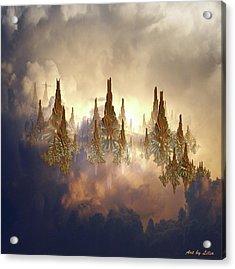 Golden Riffs Acrylic Print by Lilia D