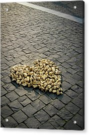 Golden Rocky Love Acrylic Print by Mary Lee Dereske
