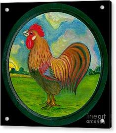 Golden Rooster Acrylic Print by Anna Folkartanna Maciejewska-Dyba