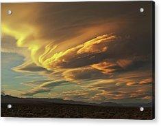 Golden Sierra Wave Acrylic Print by Nolan Nitschke