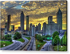 Acrylic Print featuring the photograph Golden Skies Atlanta Downtown Sunset Cityscape Art by Reid Callaway