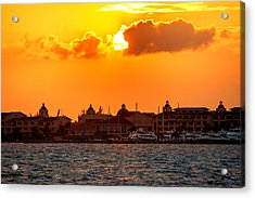 Golden Sky In Cancun Acrylic Print