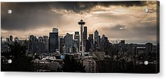 Golden Sky Seattle Acrylic Print by Chris McKenna
