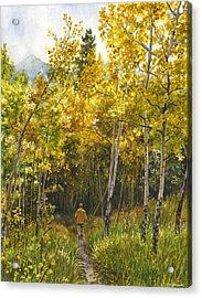 Acrylic Print featuring the painting Golden Solitude by Anne Gifford